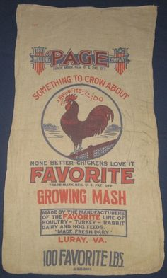 VINTAGE CLOTH CHICKEN FEED BAG ROOSTER GRAPHICS LURAY VA MILLING CO SACK | eBay