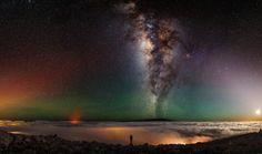 La Vía Láctea desde la cima de un volcán en Hawaii