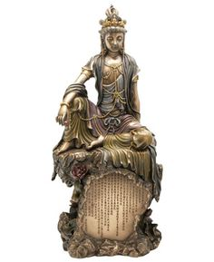 Cast Bronze Water and Moon 16 Inches High Kuan Yin Statue