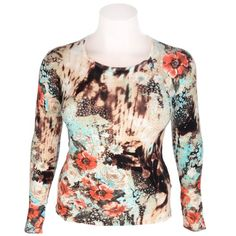 Ladies Long Sleeve Multi and Floral Print Jumper Multi Coloured