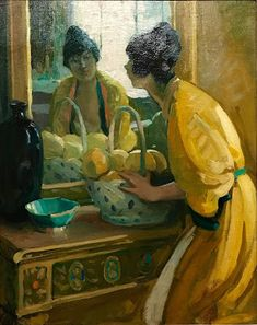 """Lady in Yellow,"" Jane Peterson, oil on canvas, 38 x Housatonic Museum of Art. Portraits, Portrait Art, Mirror Image, Mirror Mirror, Impressionist Artists, Through The Looking Glass, Yellow And Brown, American Artists, Impressionism"