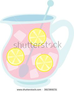 Glass Pitcher of Pink Lemonade With Lemon Citrus Slices Ice Cubes and Stirring Spoon