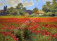 Цветение маковых полей, картина раскраска по номерам, своими руками, размер 40*50см, цена 750 руб