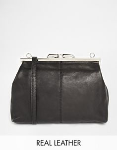 Vagabond Leather cross Body Bag with Metal Clip Fastening