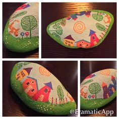 A little town from above. #rockpainting