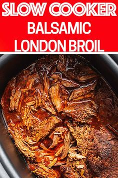 Slow Cooker Balsamic London Broil Crockpot London Broil is a melt-in-your-mouth roast, seared to tas London Broil Slow Cooker, Cooking London Broil, London Broil Recipes, Roast Recipes, Slow Cooker Recipes, Crockpot Recipes, Cooking Recipes, Crockpot Meat, Dinner Crockpot