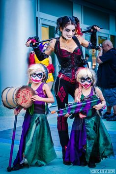 Mommy and Me Cosplay again at WonderCon 2015 cosplaying as Harley Quinn with her two adorable daughters!