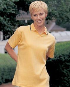 Tri-Mountain Women's V-Neck Collar Striped Polo Shirt. 262