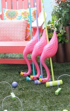 DIY Alice in Wonderland Croquet Set! A perfect game for a fun summer day spent outside with family and friends… plan an Alice in Wonderland party! Alice In Wonderland Croquet, Alice In Wonderland Tea Party Birthday, Alice Tea Party, Alice In Wonderland Flamingo, Alice In Wonderland Decorations, Mad Tea Parties, Alice In Wonderland Crafts, Mad Hatter Party, Mad Hatter Tea