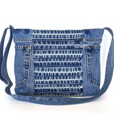 Reciclado de bandolera denim azul lado monedero bolso por Sisoibags