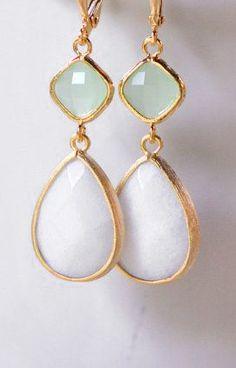 Large White Teardrop and Mint Diamond Dangle