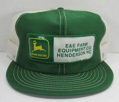 212d3208d15519 VINTAGE 1980s, JOHN DEERE, HENDERSON NC, PATCH, TRUCKER HAT, MESH, SNAP BACK