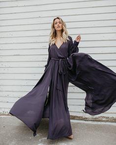Long Sleeve Diana Maxi Dress - Charcoal