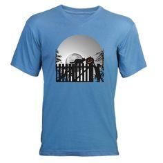 Pumpkin, Cats, Moon and Shado Men's V-Neck T-Shirt