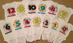 Baby shower gift!! Month onesies!