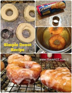 Serious Comfort food right here people! Simple Donut Recipe - made from canned crescent roll dough! Simple yet scrumptious! Easy Donut Recipe, Donut Recipes, Brunch Recipes, Sweet Recipes, Cooking Recipes, Yummy Recipes, Delicious Deserts, Delicious Donuts, Yummy Food