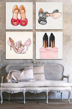 Wouldn't this Shoes Canvas Wall Art be so cute on hallway wall that leads to your closet?