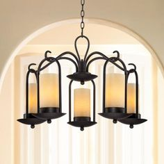"""$400 Onyx Faux Stone Candle 30"""" Wide Indoor-Outdoor Chandelier - #T9493 