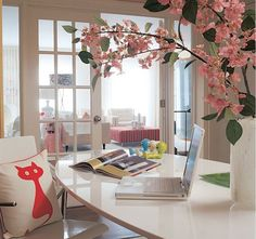 Feminine Home Office Design Ideas. 28525893 Design Your Office. 5 Home Office Decorating Ideas Decor, White Modern Office, Feminine Home Offices, Home, Cool Rooms, Chic Home, Contemporary House, Office Interior Design, House Ornaments