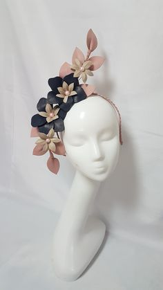 Navy, blush and nude leather design Lilac Fascinator, Fascinator Hats, Headpiece, Flower Headdress, Diy Crown, Mixed Media Jewelry, Wedding Hats, Love Hat, Floral Hair