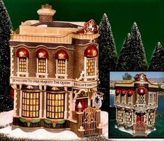 """""""Brightsmith & Sons, Queen's Jeweller's"""" Dept. 56 Dickens Village Item #58484. Limited To Year 2001 Production. Special Swarovski crystals are featured above the 2nd floor windows. You could only buy this piece at the Dept. 56 25th Anniversary celebration in Minnesota. Entrance hanging sign is included in the box. Size: 4.25"""" x 6"""" x 7.5""""."""