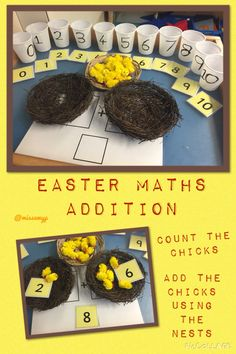 """Easter Maths with inspiration from and printables from /rachel/("""",) MATHEMATIC HISTORY Mathematics is among Maths Eyfs, Numeracy Activities, Eyfs Classroom, Nursery Activities, Counting Activities, Easter Activities, Spring Activities, Frog Activities, Classroom Ideas"""