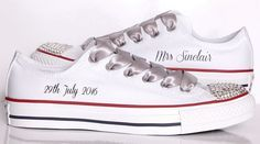 Swarovski Bride Converse customised with Mrs name and wedding date by Dead Fresh #converse #bride #bridal #wedding #personalised #trainers #shoes