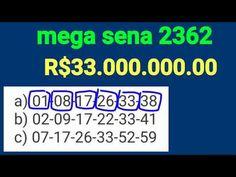 Mega sena 2362 - 33 milhões, 3 apostas com dicas de Números intuitivos - YouTube Super Lotto, Mega Sena, Youtube, Blog, Lucky Number, Dreams, Tips, Places, Blogging