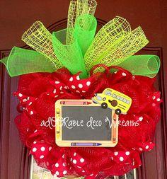 Teacher Apple Wreath by aDOORableDecoWreaths on Etsy