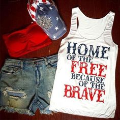 Home Of The Free Because Of The Brave. Red, White and Blue Racer Back Sleeveless Tee. Support the USA!! Jersey Knit. Sizes Med, Large, XLarge. Women Get 4th of July ready! And as always a free gift with purchase.