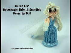 Rainbow Loom Queen ELSA Figure (Frozen) - Detachable Skirt & Standing Dress Up Doll. Designed and loomed by Kate Schultz of Izzalicious Designs. Click photo for YouTube tutorial. 04/23/14.