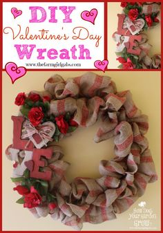 Here a quick and easy tutorial on how to make this cute Valentine's Day Burlap Wreath. In lest than 25 minutes, this wreath will be hanging on your front door.