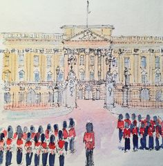 Buckingham Palace with soldiers
