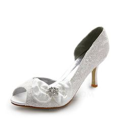 Wedding Shoes - $38.99 - Women's Satin Stiletto Heel Peep Toe Pumps With Bowknot Rhinestone (047005038) http://jjshouse.com/Women-S-Satin-Stiletto-Heel-Peep-Toe-Pumps-With-Bowknot-Rhinestone-047005038-g5038