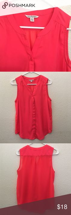 AEO Tank Top Bright neon pink. Button down. Sleeveless. Sheer.  100% polyester. American Eagle Outfitters Tops Button Down Shirts