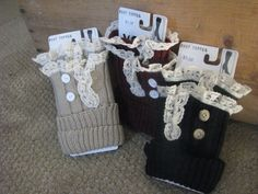 Boot toppers by ButtonsBowsnMore on Etsy, $20.00