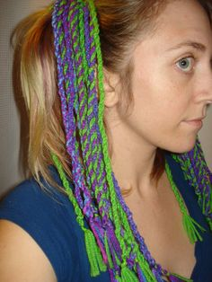 I use acrylic yarn to create these yarn dread falls I attached them to a hair tie and secure the ends with smaller hair ties. Get at www.etsy.com/shop/amaranthineMoonlight