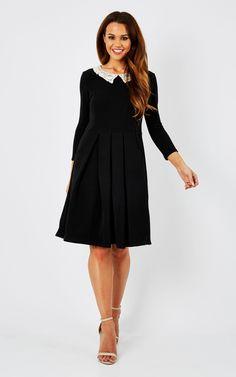 Wednesday Crochet Collar Dress - SilkFred