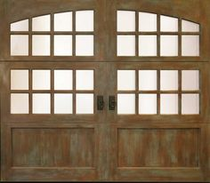 Custom handcrafted wood carriage house garage doors offered in many wood species. Carriage Style Garage Doors, Custom Garage Doors, Wooden Garage Doors, Custom Garages, Patina Paint, French Country House, Custom Wood, French Doors, Natural Wood