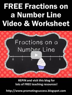 Teaching ideas 179369997635801055 - FREE Fractions on a Number Line Grade Video Tutorial Plus FREE Printable Worksheet & Answer Key Source by prosuccess 3rd Grade Fractions, Fourth Grade Math, Math Fractions, Math Resources, Math Activities, Math Worksheets, Math Games, Math Intervention, Teaching Math