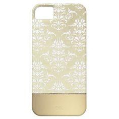 Elegant Light Gold Vintage Damask Pattern Iphone 5 Case