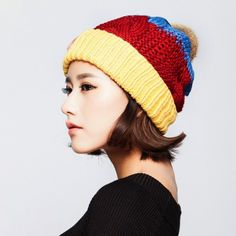Hit color knit hats for women winter hats Hairball