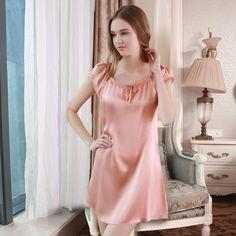 Satin Lingerie, Pretty Lingerie, Bridal Lingerie, Beautiful Lingerie, Women Lingerie, Cute Sleepwear, Silk Sleepwear, Lingerie Sleepwear, Night Gown Dress