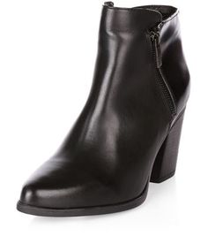 Black Leather Pointed Block Heel Ankle Boots