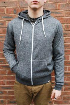 Bellfield Depp charcole grey marl zip through drawstring hoody