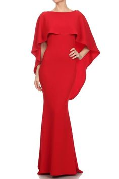 Overlay evening dress with draped overlay with waterfall back, low v-back, and inverted pleat at back skirt