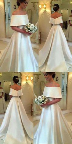 Romantic A-line Off The Shoulder Satin Wedding Dresses For Bride 2018 #satinweddingdresses