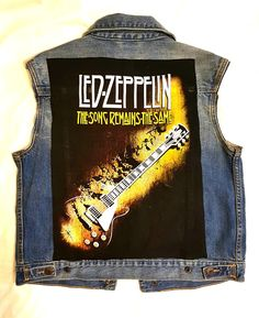Perfect for the rock n roll/Led Zeppelin fan! Show a Whole Lotta Love for the band in this one of a kind denim vest with The Song Remains the Same tee Remain The Same, Zeppelin, Fit Women, Tank Man, Youth, Vest, Songs, Boutique, Rock