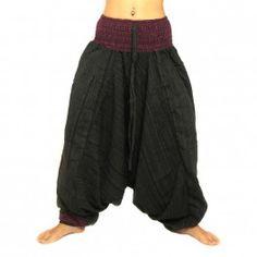 Aladinhose zweifarbig mit breitem Bund schwarz violett