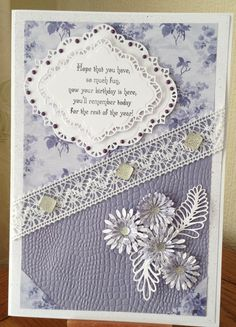 A4 card using the New Chic Floral Collection - Aubergine Verse from the Chic Floral Birthday Verse Collection, backing paper Chic Floral. Top half floral, bottom half reversed. Dies by Sue Wilson